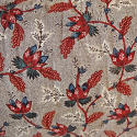Red Blue Stylised Flowers blockprinted   cushion - picture 6