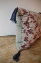 Red Blue Stylised Flowers blockprinted   cushion - picture 7