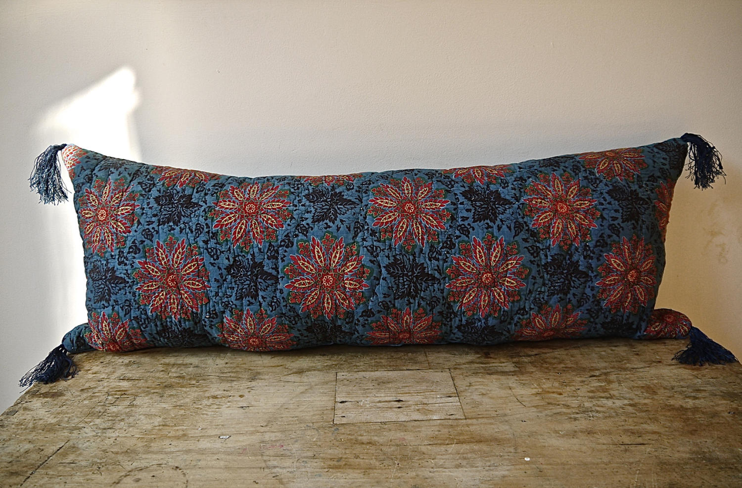 Yellow Flower Blockprinted Long Cushion