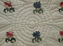 Wool flowers Woven on Linen Quilt French 18th century - picture 2