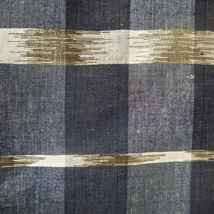 Indigo Flamme Ikat Cotton Panel 19th century French