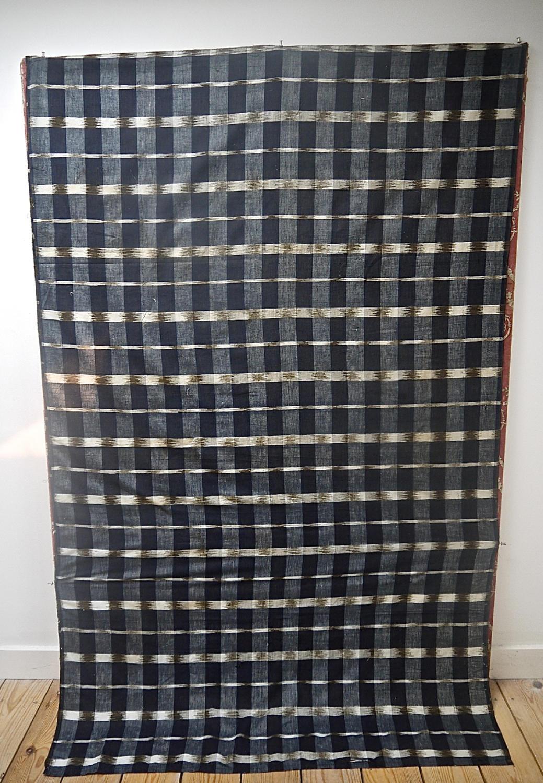 Indigo Flamme Ikat Cotton Panel 19th century French