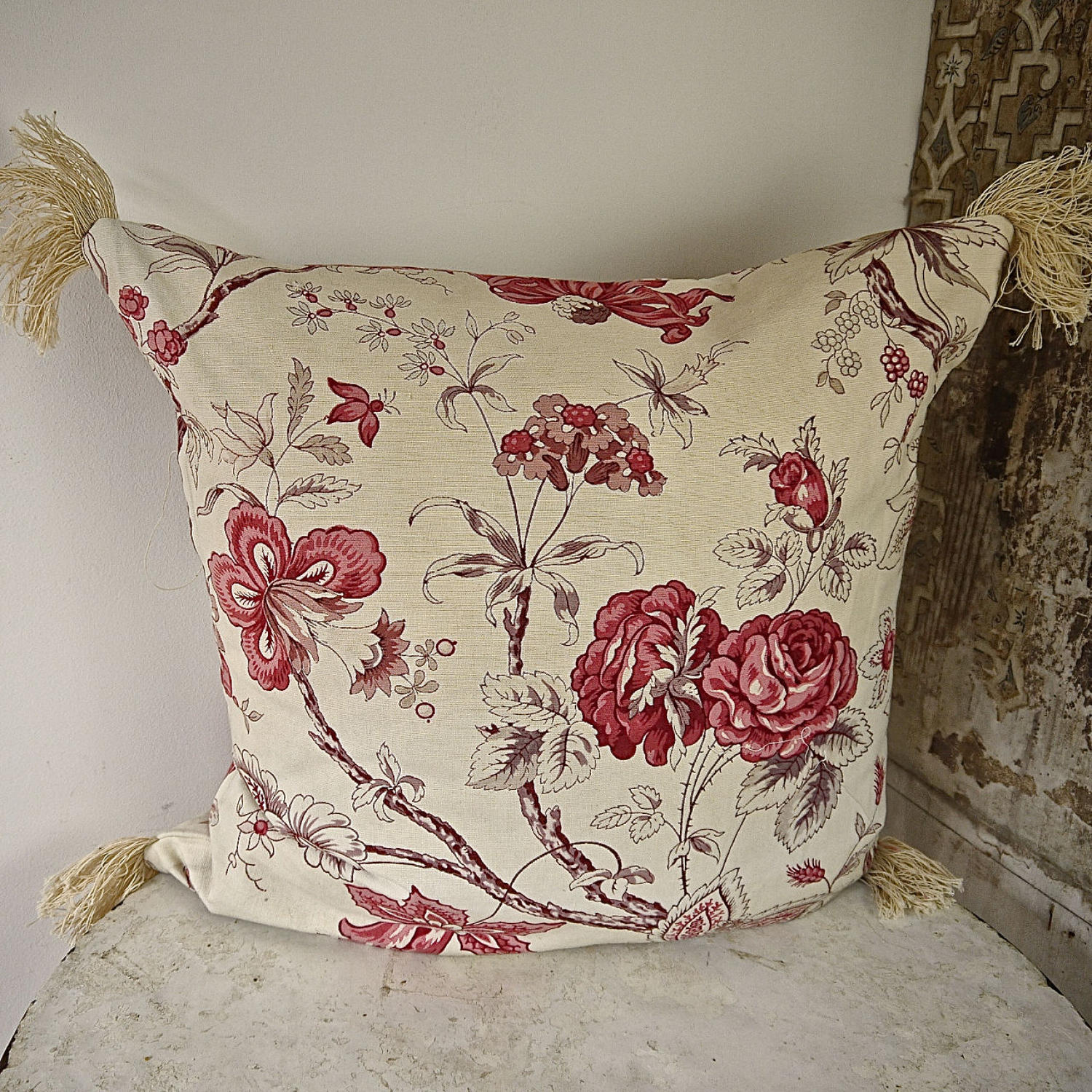 Pink Roses and Flowers Cotton Cushion French