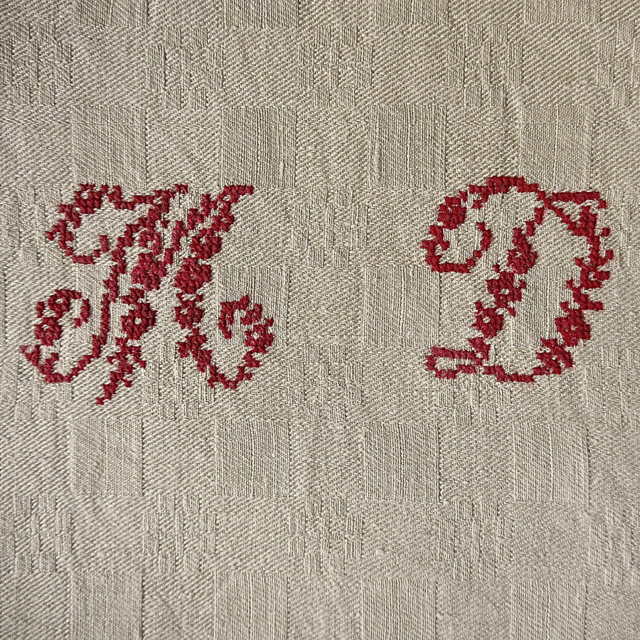 Set of 10 MD Monogrammed Linen Napkins French