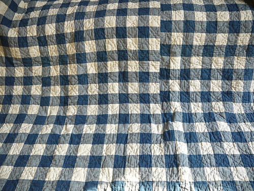 Blue and White Vichy Check Cotton Quilt