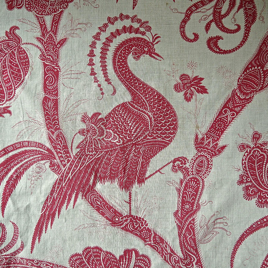 Red Birds Indienne Cotton Curtain French