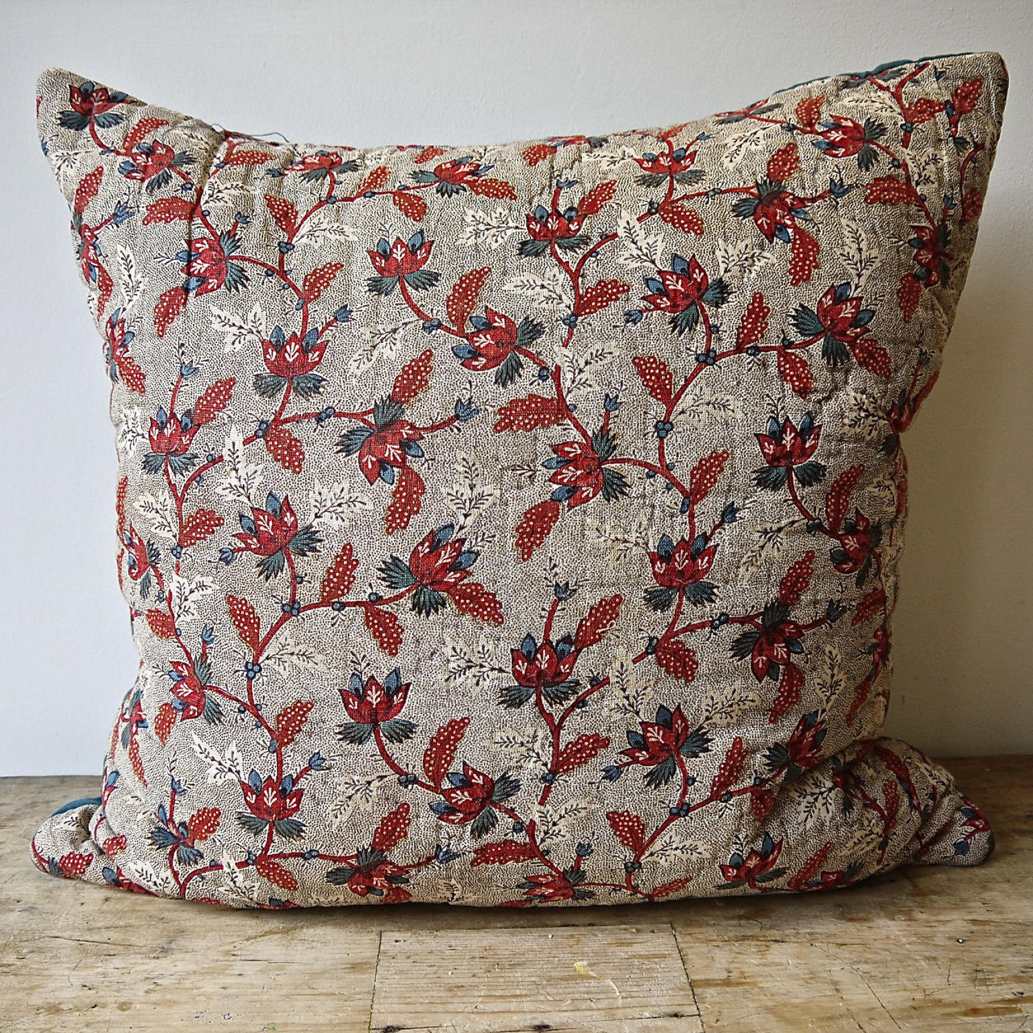 Red Blue Blockprinted Cotton Cushion 18thc