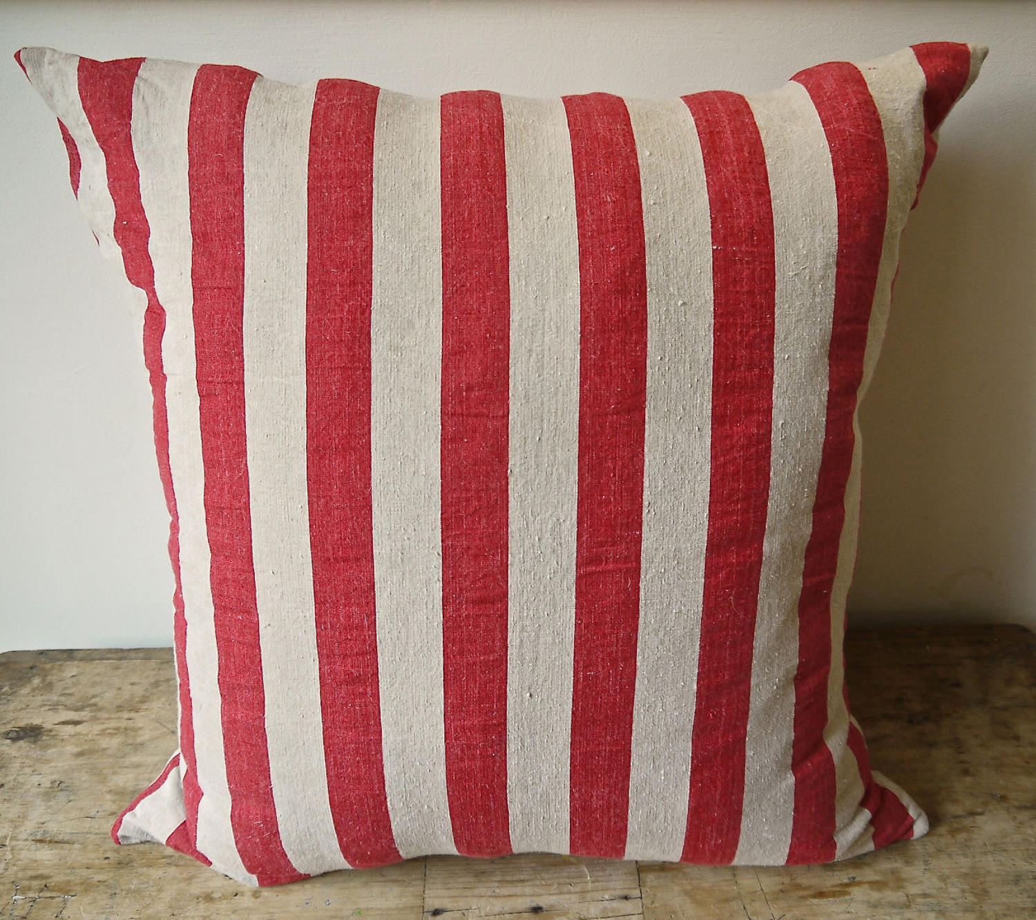 Red Striped Linen Cushion French 19thc