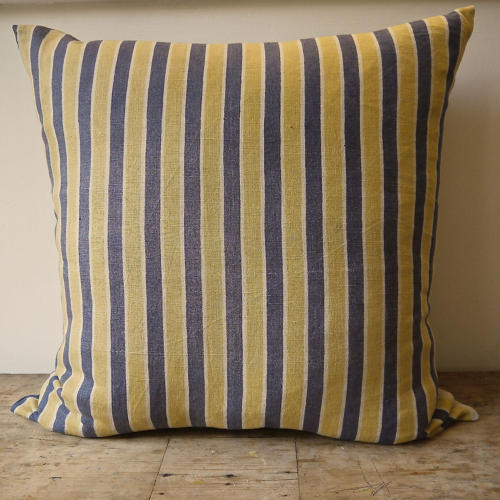 Yellow Grey Striped Linen Cushion French