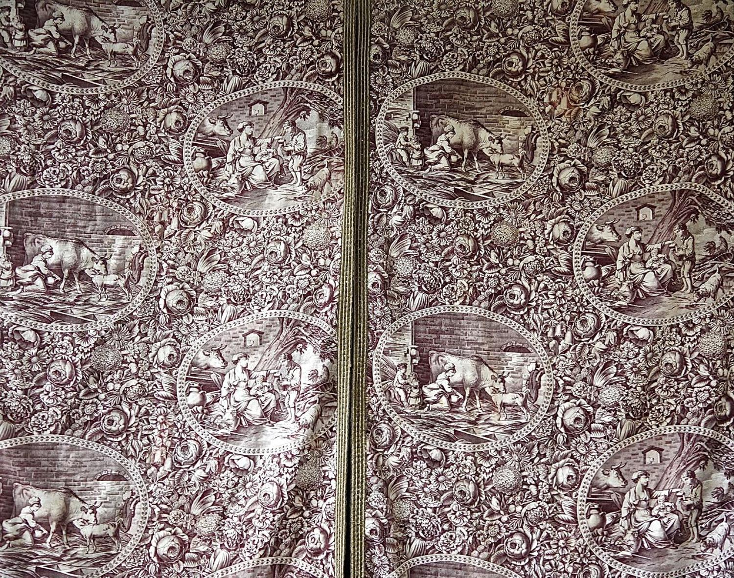 Pair of Purple Toile Panels French 19th century