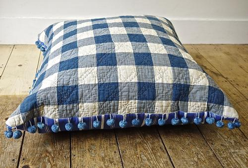 Blue and White Vichy Check Quilted Floor Cushion