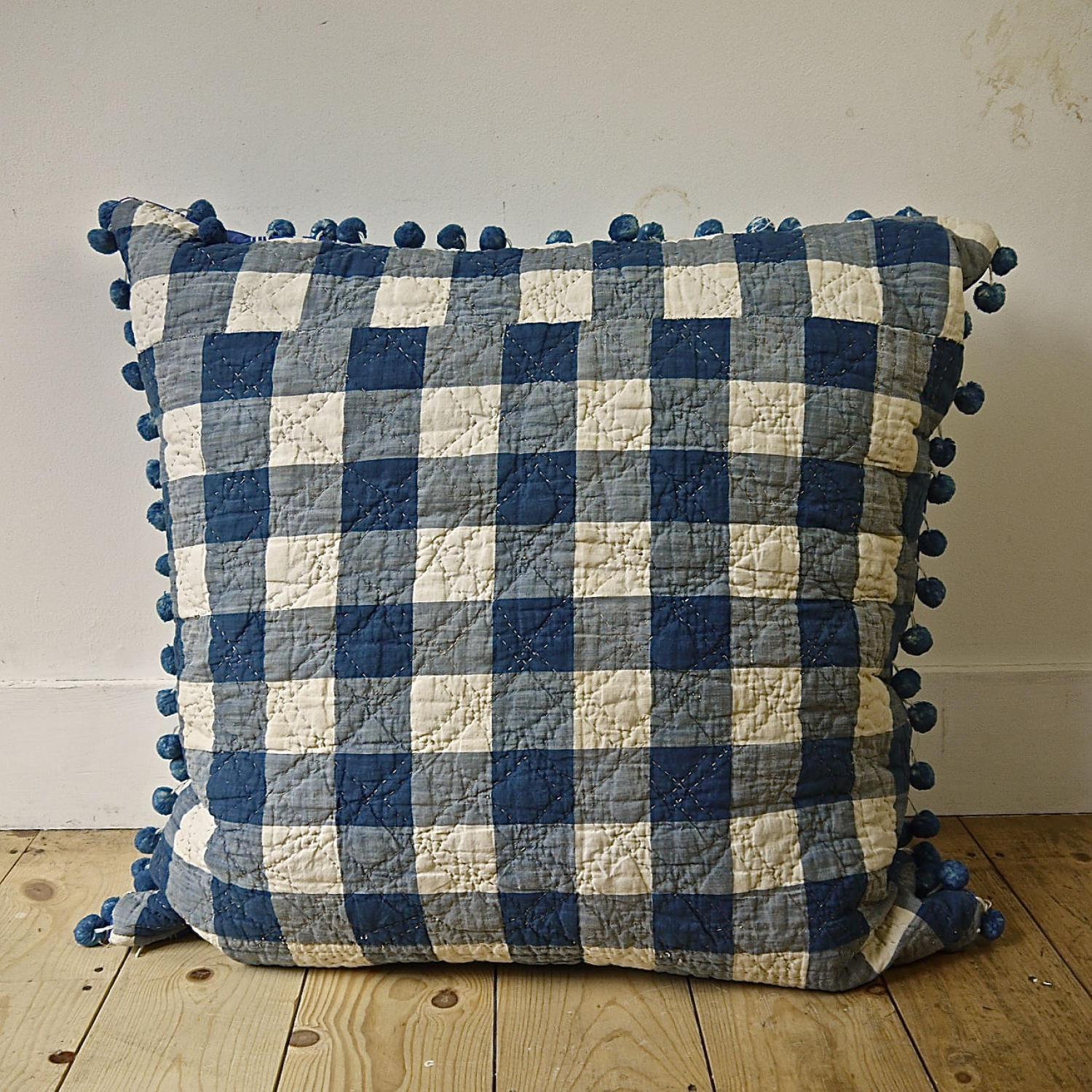 Blue and White Vichy Check Floor Cushion