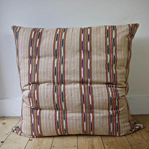 Striped Ikat Ticking Floor Cushion French 19thc