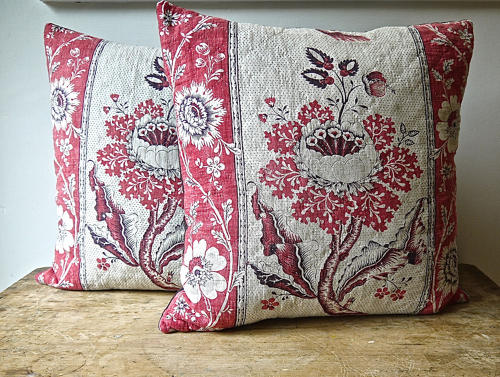 Pair of Blockprinted Flower Cushions French 18thc