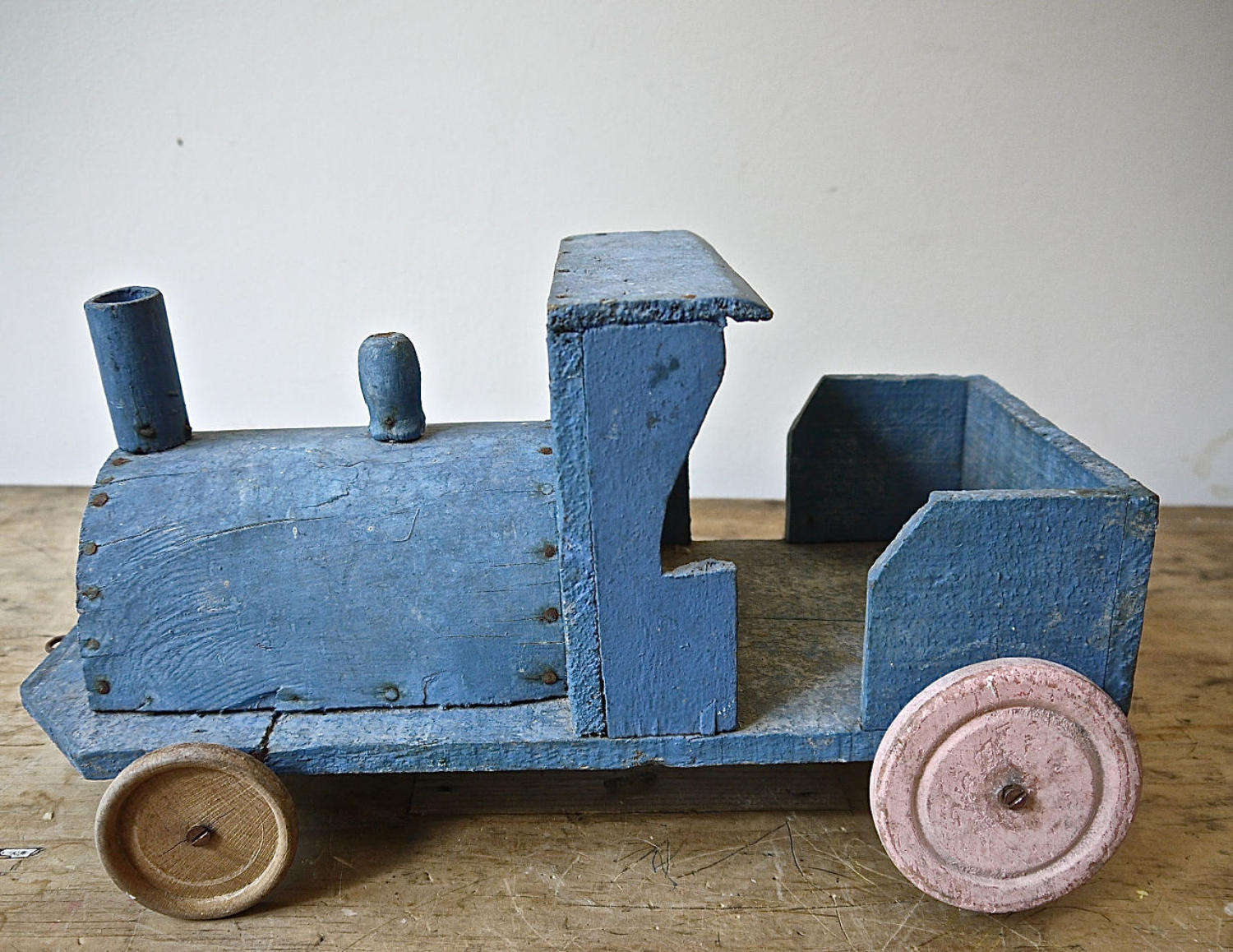 Painted Blue Wood Toy Engine