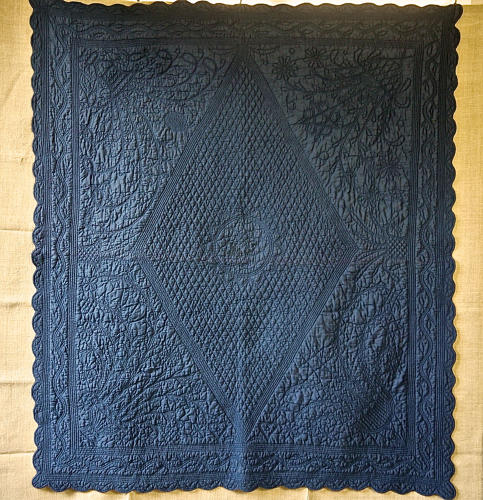 Blue Cotton Monogrammed small Quilt French 19th century
