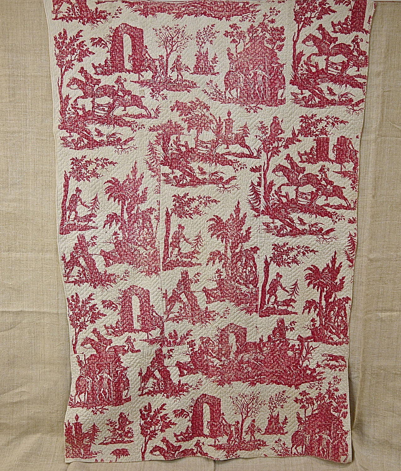 Red Toile Hunting Scenes Small Quilt c.1785 French quilt
