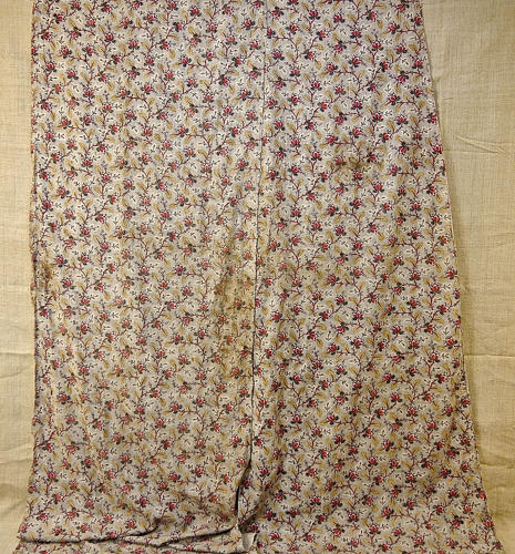 Pair of Blockprinted Red Flower Cotton Panels French 18th Century