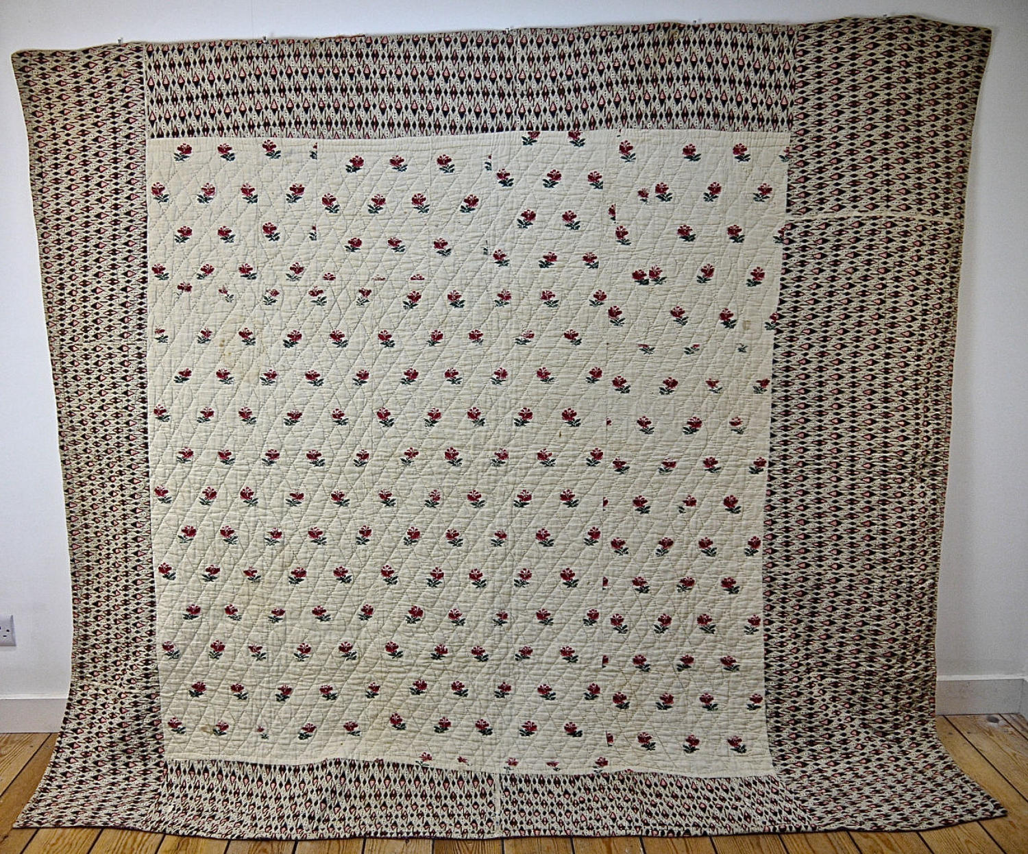 Wool Flowers Woven Linen Quilt French 18th century