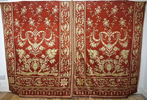 Two Pairs of Dark Coral Dull Gold Silk Curtains French 19th Century