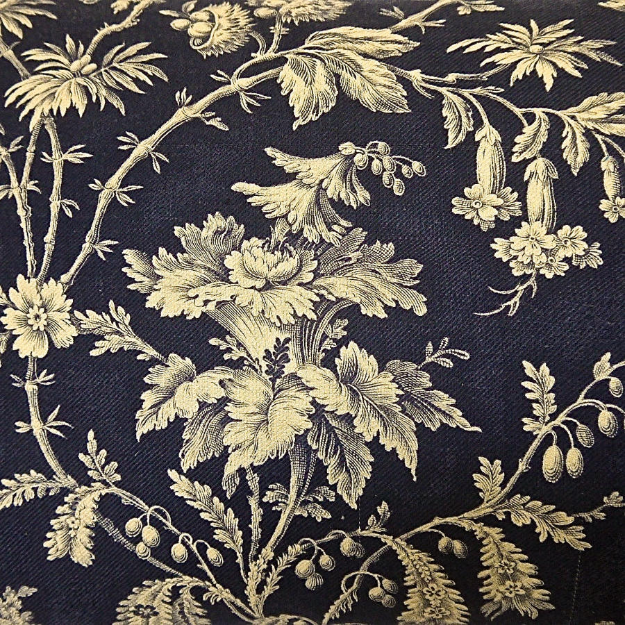 Blue and White Exotic Flowers Cotton Cushion French 19th century