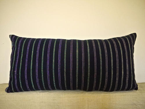 Indigo Green Purple White Cotton Wool Striped CUshion