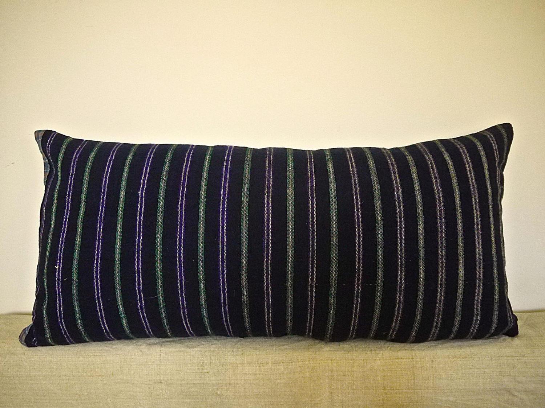 Indigo Green Purple White Cotton Wool Striped CUshion