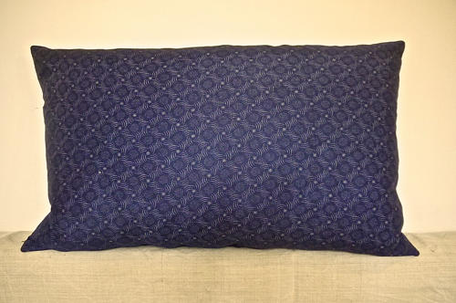 Dark Blue and White Print Cotton Cushion French 1900s