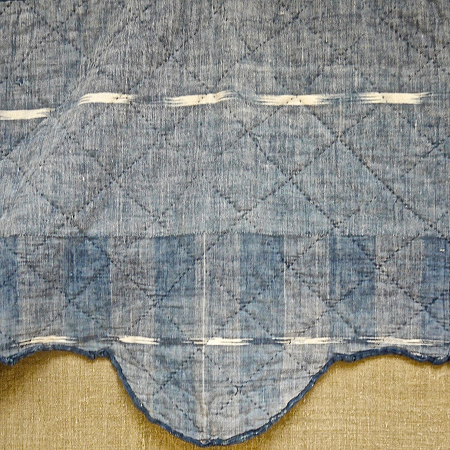 Indigo Flamme Ikat Cotton Pelmet French 19th century