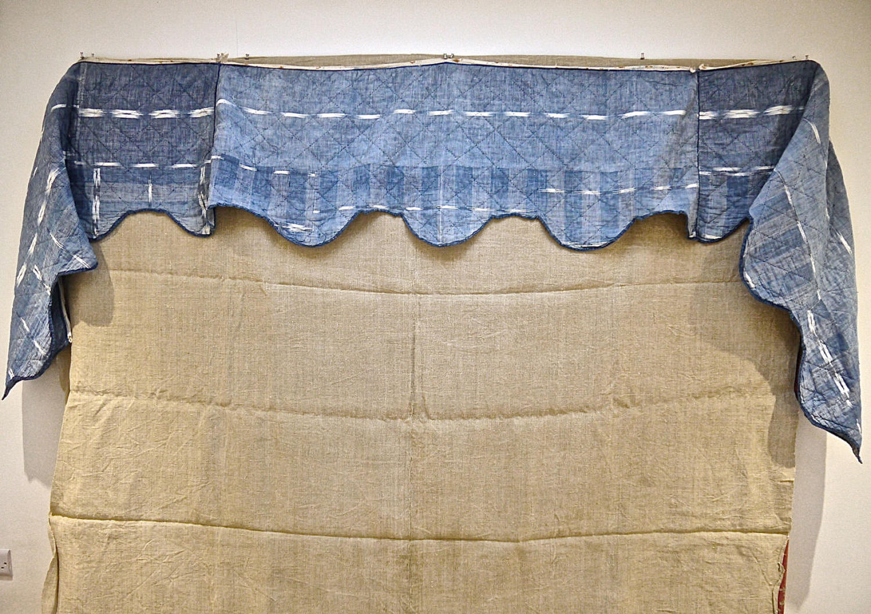 Indigo Flamme Ikat Cotton Pelmet French 19th century