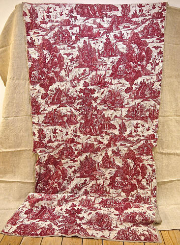 Red Toile de Beautiran Cotton Panel French 18th century