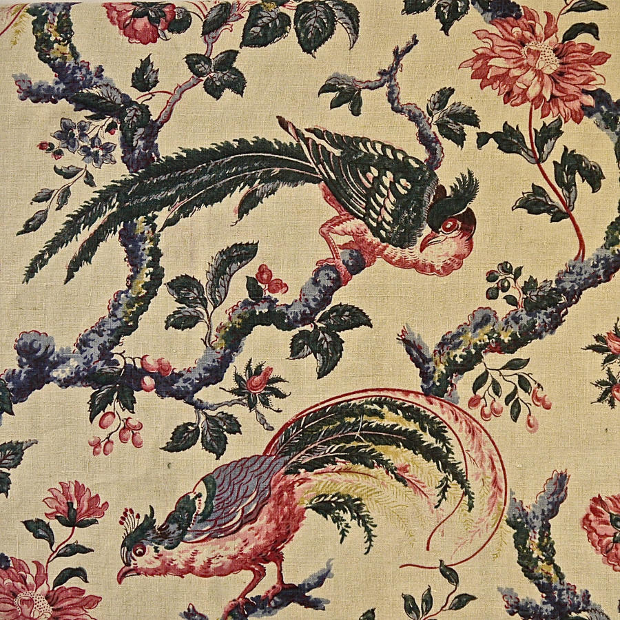 Birds and Flowers Linen Panel and Pair of Curtains French 19th Century