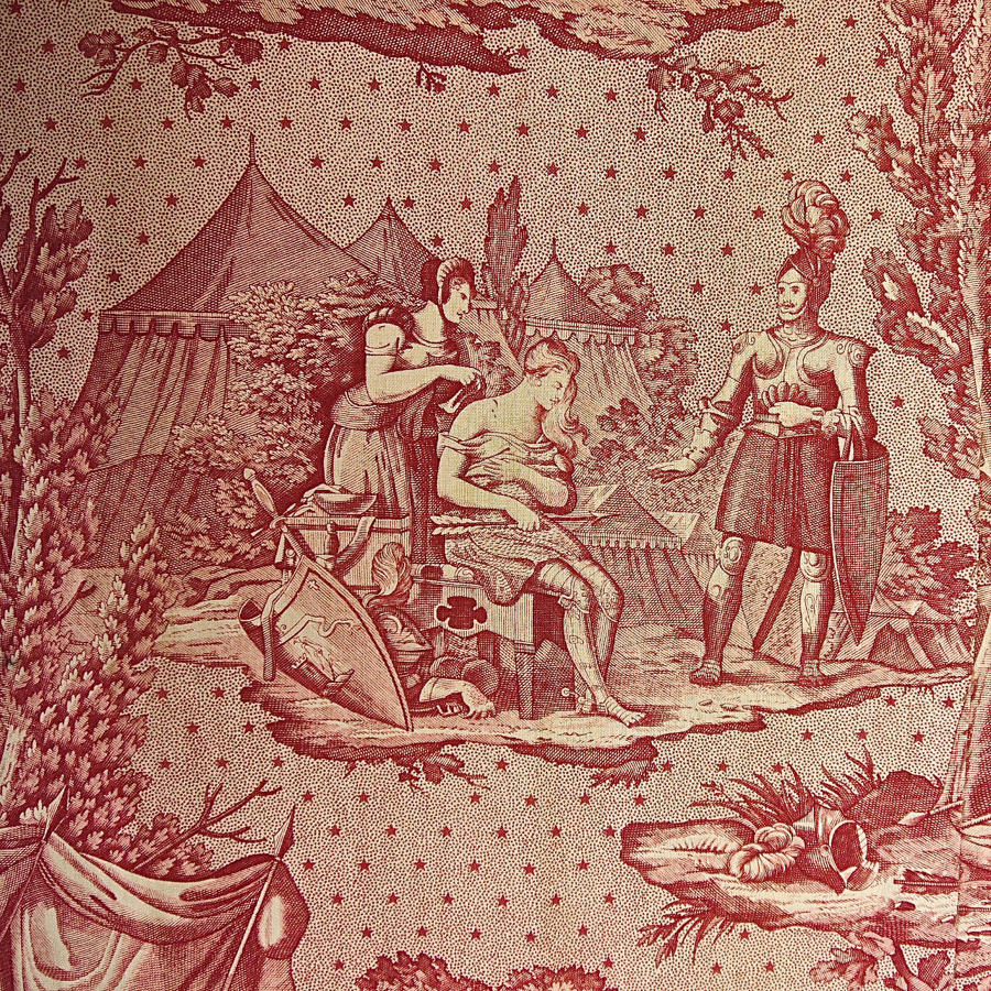 Joan of Arc red Toile de Jouy Cotton Panel French 19th century