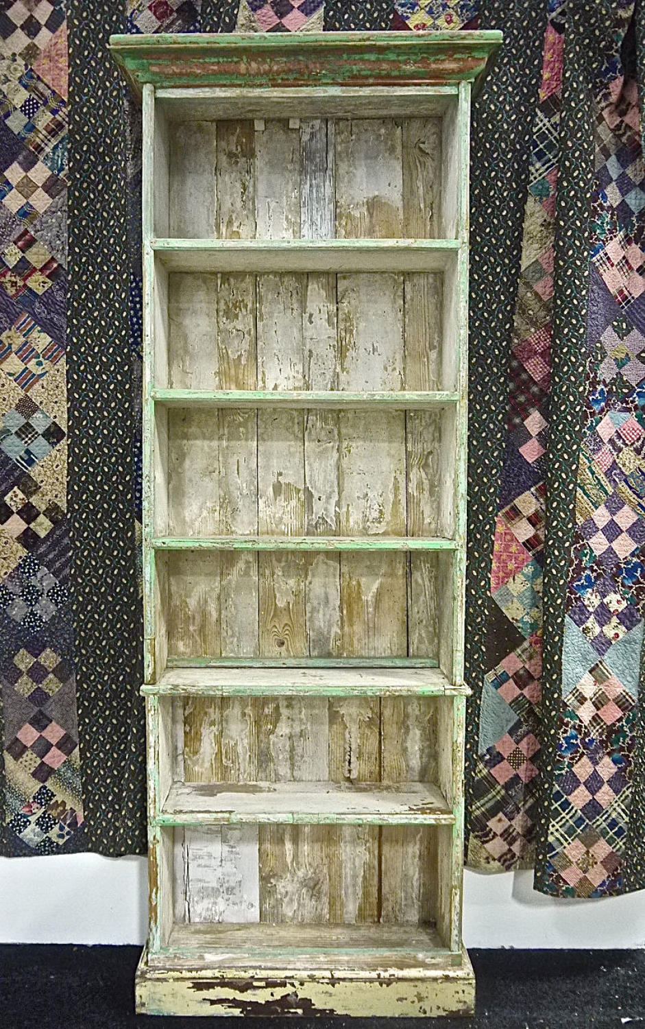 Rustic Green Painted Shelves French 19th century