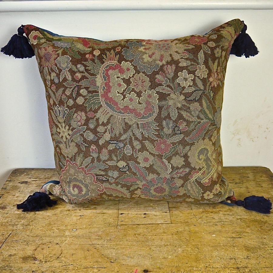 Wool Needlework Cushion With Indigo Silk Tassels French 19th century