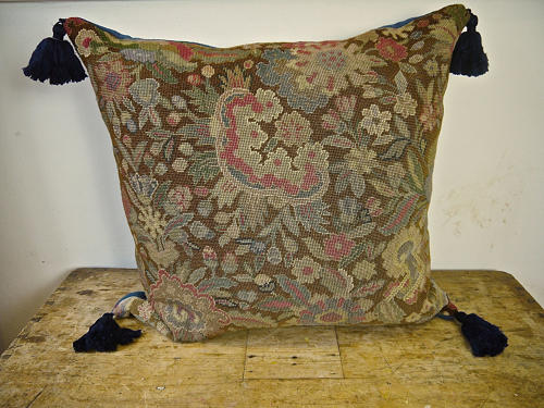 Wool Needlework Cushion With Indigo Silk Tassels French 19th century