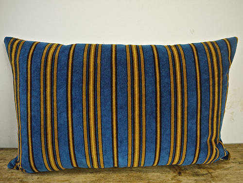 Blue Yellow Striped Cotton Velvet Cushion  Napoleon III French