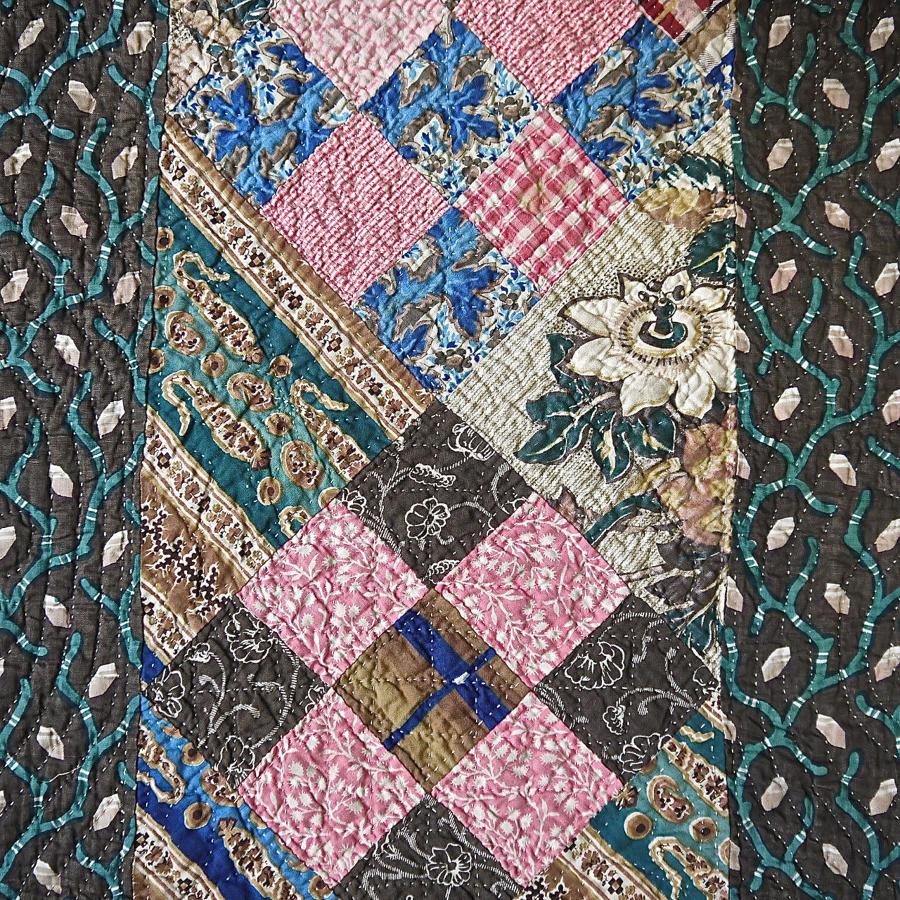 Large Patchwork Cotton Quilt English 19th century