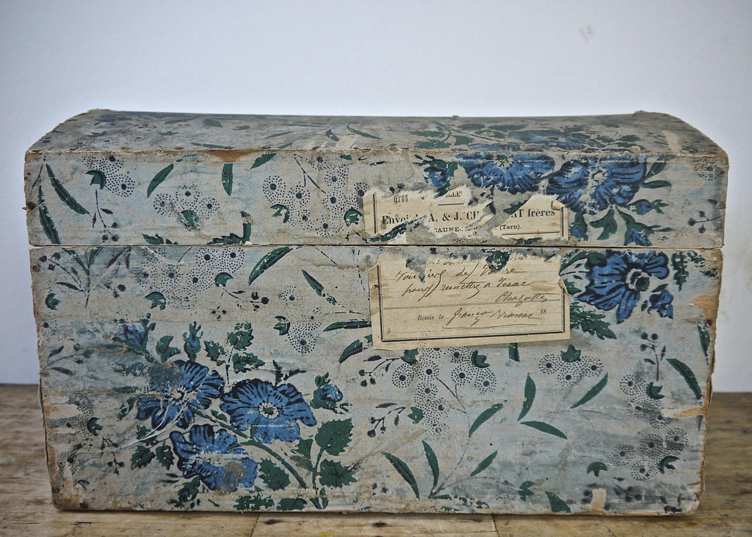 Blue Flowers Papier Peinte Wooden Box French 19th Century