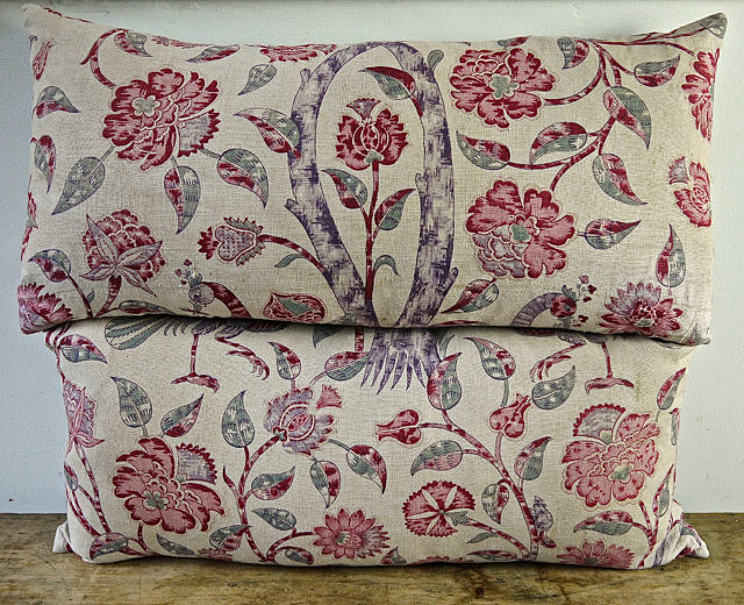 Pair of Pink Floral Linen Cushions French 19th Century