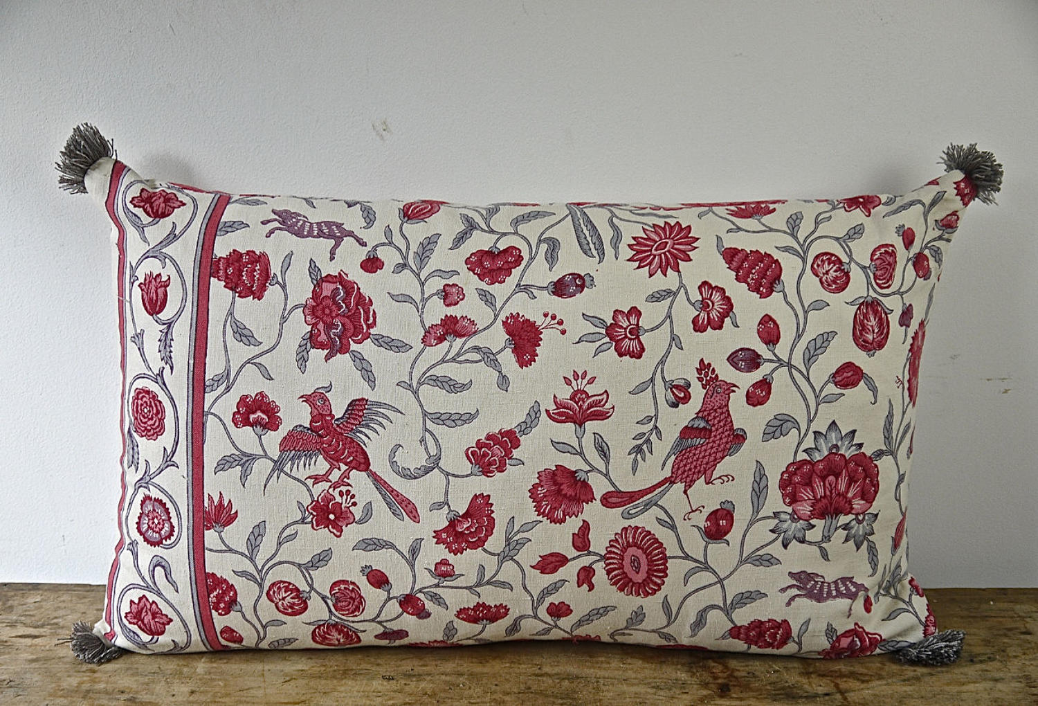 Red Birds Floral Linen Cushion French Early 20th Century