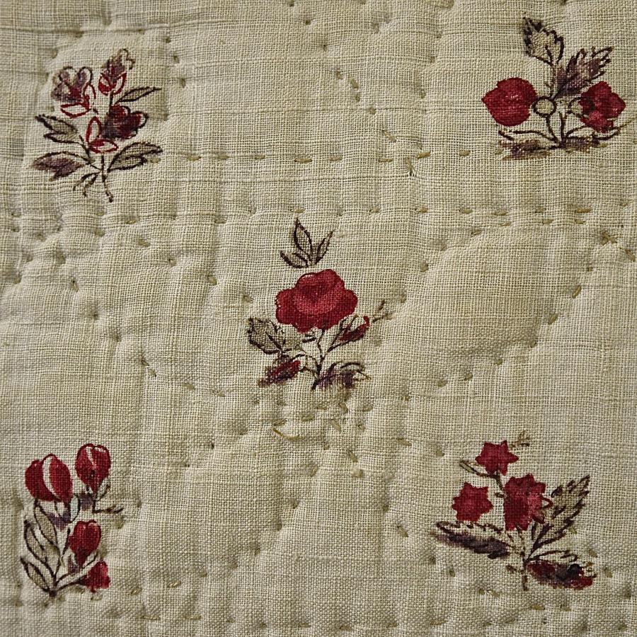 Pretty Flowers Blockprinted Cushion French 18th Century