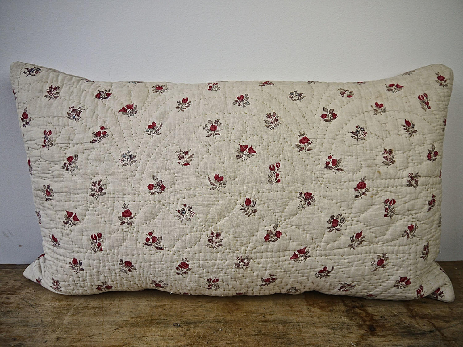 Pretty Flowers Blockprinted Cushion French 18th Century