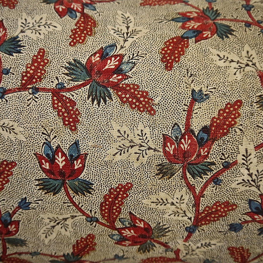Stylised Flowers Red Blue Blockprinted Cushion