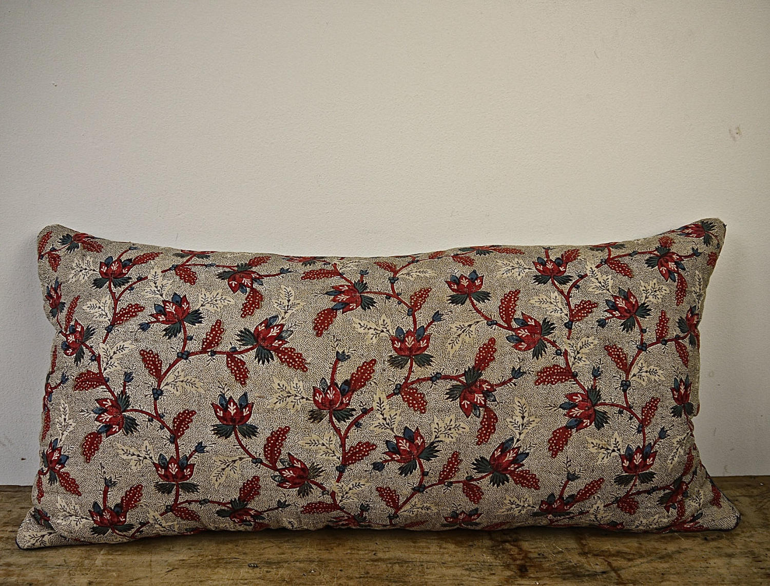 Stylised Flowers Red Blue Blockprinted Cushion