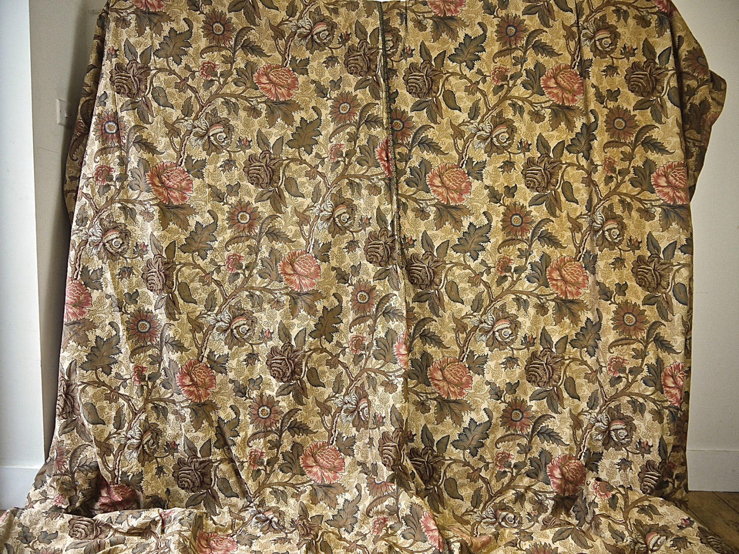 Two Indienne Cotton Curtains French 19th Century