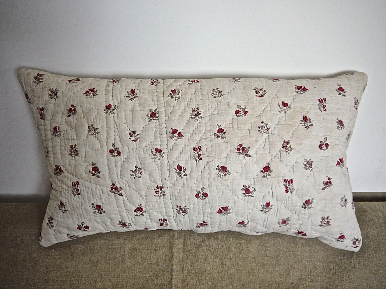 Red Pink Flowers Blockprinted Cotton Cushion French 18th Century