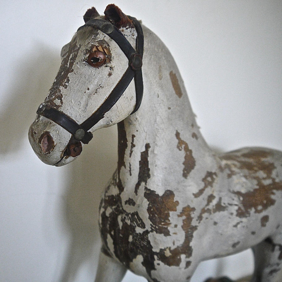 Painted Toy Wooden Horse Swedish 19th century