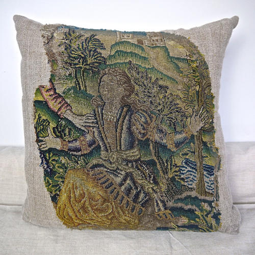 Wool and Silk Needlework Cushion French 17th century