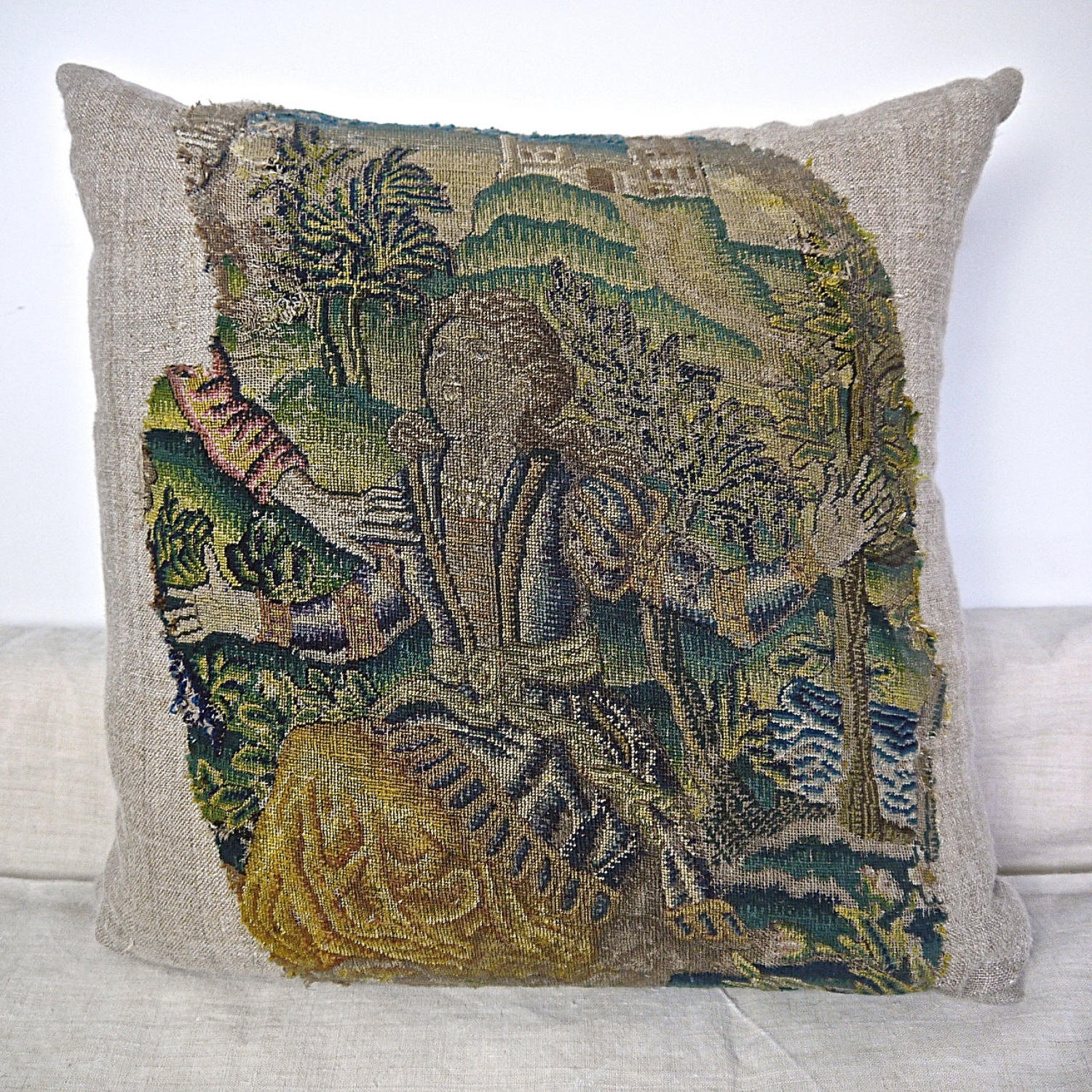 Wool and Silk Needlework Cushion French 17th century